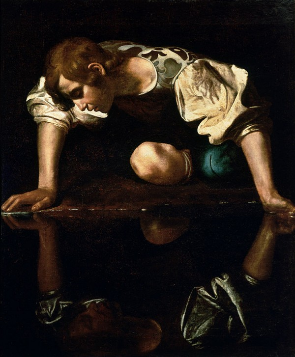 Narcissus by Caravaggio depicts Narcissus gazing at his own reflection. Galleria Nazionale d'Arte Antica.