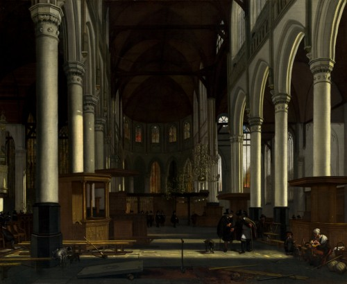 "Arthur K. Wheelock Jr., ""Emanuel de Witte/The Interior of the Oude Kerk, Amsterdam/c. 1660."" National Gallery of Art."